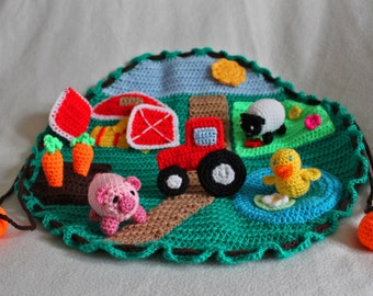 Handmade Crochet Farm Play Mat, Pretend Play