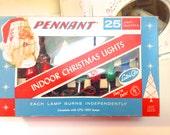 Vintage Christmas Lights, IOB 25 Indoor Pennant Working Plus extra Bulbs