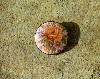 1950s Pink Flower Brooch Circle Pin Made in England