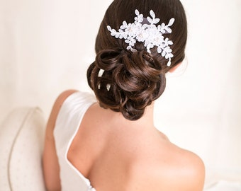 Bridal lace headpiece with pearls, hair comb