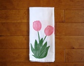 Spring Tulips Kitchen Towel, block print, yellow and pink, flour sack towel (made to order)