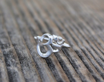 Sterling Silver OM Ring - Spiritual Jewelry - Hindu - Yoga - Aum - Hinduism - simple delicate dainty - gift under 30 40 50