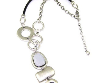Leather and Chain Pewter necklace pendant silver plated