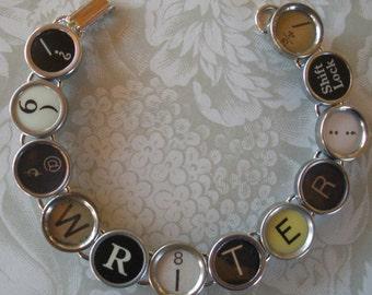 Vintage Typewriter Key Bracelet --WRITER