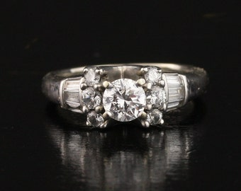 14k White Gold 1.23 Carat Diamond Engagement Ring with Diamond Shoulders