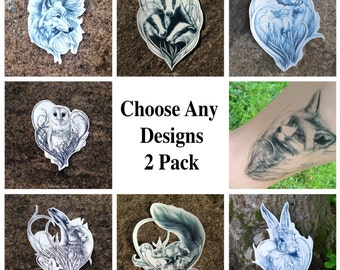 Temporary Tattoos - Animal Temporary Tattoos - Fox Tattoo - Rabbit Tattoo - Wolf Tattoo - Owl Tattoo - Deer Tattoo - Badger Tattoo