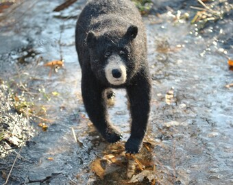 Needle felted sculpture realistic bear toy OOAK black bear soft sculpture Wool Art Sculpture Soft Decorative Totem bear