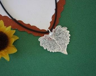 SALE Leaf Necklace, Heart Shaped Leaf, Silver Cottonwood Leaf, Real Leaf Necklace,Silver Cottonwood Leaf Pendant, SALE84