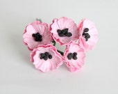 50 pcs - Pink Poppy paper flowers - Wholesale pack