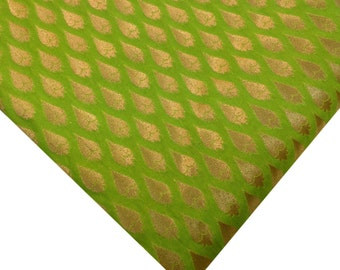 Apple Green and Gold Banaras Silk Fabric Half Yard- Green Gold Leaf Pattern Indian Silk Fabric