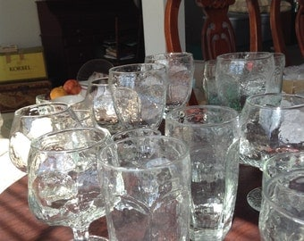 Libbey Chivalry LARGE LOT multiple sizes Rock Sharpe Clear Pebbled Barware Serving Restaurant tea water brandy cordial see pictures thanks