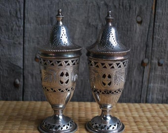 pair of vintage salt shakers - Shabbat shakers -- silver plate - filigree - made in England