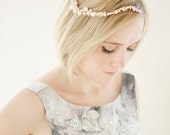 For K - Bridal Pearl Headpiece, Bridal Pearl Vine, Ivory Headpiece - Celeste