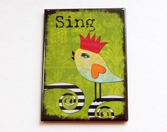 Large Magnet, Kitchen magnet, ACEO, Magnet, Fridge magnet, stocking stuffer, Sing, Bird, green, bright colors (4441)