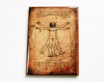Vitruvian Man, Magnet, ACEO, Kitchen magnet, Fridge magnet, stocking stuffer, Magnet, leonardo da vinci, art magnet (4708)