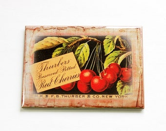 Food Magnet, Fruit Magnet, Cherry, Kitchen magnet, Fridge magnet, Magnet, ACEO, Mothers Day Gift, Cherries (4718)