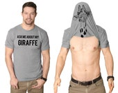Mens Giraffe Flip Up T-Shirt funny, zoo,perfect gift for animal lover guys, boyfriend, back to school, stylish college, zoology major S-3XL