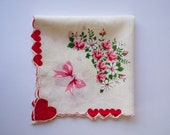 Valentine Handkerchief Love Letter with Scalloped Edges, Hearts and Doves