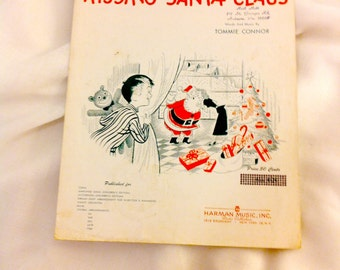 "Vintage Sheet Music ""I Saw Mommy Kissing Santa Claus""  1952"