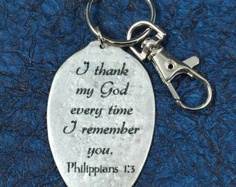 Christmas Gift I Thank My God Every Time I Think of You Keychain, Silverware Jewelry, Inspiring gift,Philippians 1:3 keychain,Religious Gift