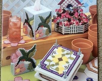 Plastic Canvas Pattern, Hummingbird Coasters, Petunia Flower Press, Bird House Planter Watering Can Wheel Barrow, Spring Garden Theme