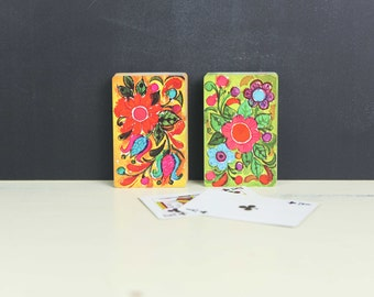 Vintage Playing Cards, Double Deck Bridge Set, Floral Pattern in Bright Colors