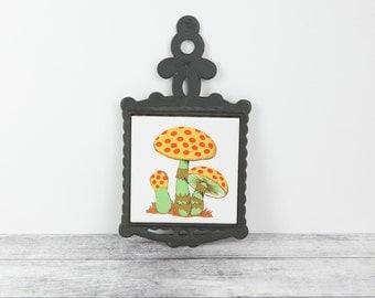 Vintage Mushroom Trivet w/ Ceramic Tile Center in 1970s mod Orange, Gold and Green colors by Homco