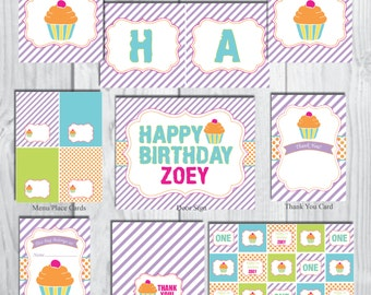 Cupcake Party Package-Cupcake Party Decorations-Dessert Party Package-Personalized-DIGITAL DOWNLOAD