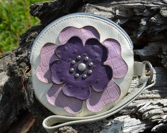Silver Round Leather Wristlet & Purple Flower- Soft Leather Purse - One Of A Kind - Handmade - Gifts for Her