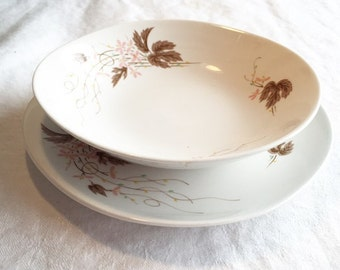 Vintage Kokura Ware China Set / White Pottery with Pink Flowers and Brown Leaves /  Berry Bowl and Bread Plate / Made in Japan