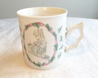 Precious Moments Gift Holly Berry Mug / Vintage Christmas Coffee Cup / White China