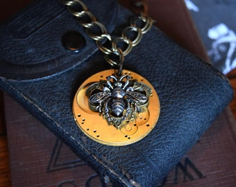 Steampunk Jewelry, Watch Gear with Bee Pendant, Gold Steampunk Necklace, Watch Necklace, Steampunk Bee Necklace, Spring Jewelry Trends, OOAK