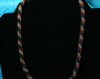 Fall Transitions Beaded Kumihimo Necklace