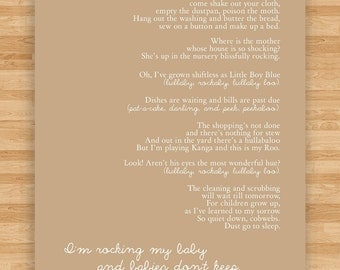 8x10 Art Print - Lullaby Poem - Song for a Fifth Child by R.H. Hamilton  - Babies Don't Keep - Sand/Tan/Nuetral