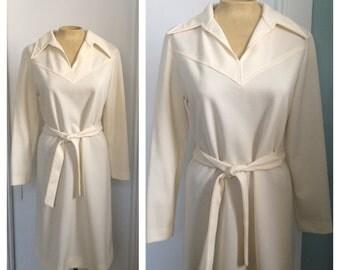 vintage 1970's cream belted dress