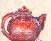 Orange Teapot Miniature Decorative Tea Pastel Kitchen Original Art by Niki Hilsabeck