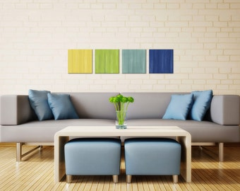 Colorful Art 'Earth & Sky' Contemporary Painting Giclee on Metal, Modern Artwork Bright Wall Art, Home Accents, Multi Panel Art Office Decor