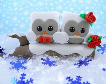Snow Owl Winter Theme Wedding Cake Topper