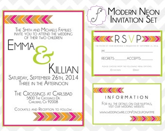 Modern Neon Printable Invitation Set