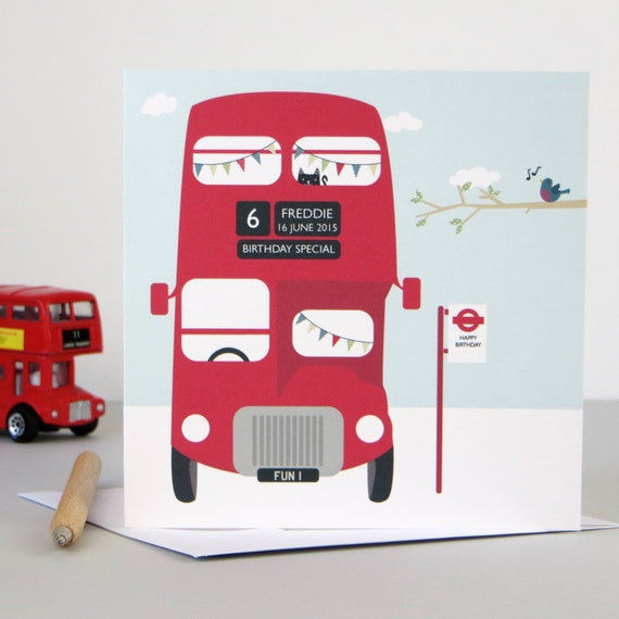 London Bus Birthday Card - personalized birthday card - personalised bus card - birthday card for him - birthday card for children - wink