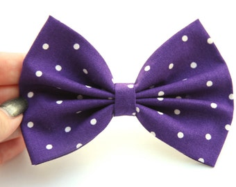 SALE - Amanda Hair Bow - Purple/Plum & White Polkadot Hair Bow with Clip