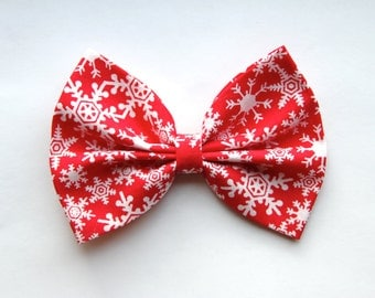 Colah Hair Bow - Red & White Snowflakes Bow with Clip