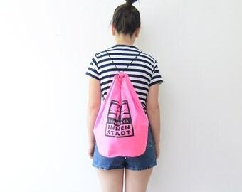 Vintage neon pink nylon gym Innsbruck bag / string rucksack backpack unisex