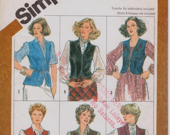 """Vintage 1980s Lined and Unlined Vests Sewing Pattern, Simplicity 5294, Dual Size 18 and 20, Bust 40-42"""" (102-107cm), Free US Shipping"""