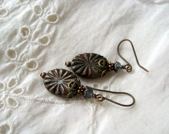 Boho Gypsy Earrings 'Rustic Star', Timeless Classy Bohemian Jewelry, Victorian, Renaissance, Antique Inspired, Gift for Her