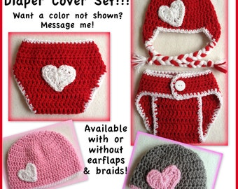 Valentine baby outfit, heart baby outfit, heart baby clothes, hat diaper cover set, 0-3 months, 3-6 months, preemie, newborn - photo prop
