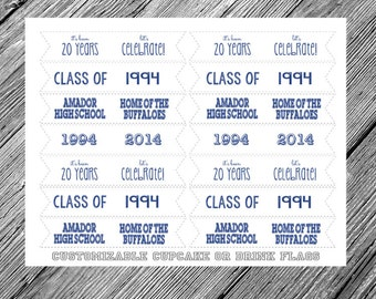 High School Reunion Printable Cupcake or Drink Flags