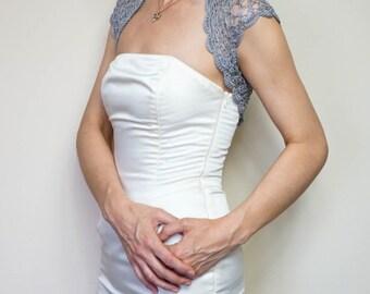 Weddings Shrugs Boleros Weddings Bridal Accessories lace crochet ivory shrug, grey lace bolero jacket, summer bolero shrug