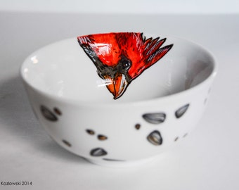 Cardinal & Seed Bowl - Hand Painted