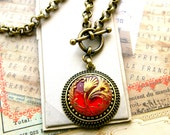 Red Art Glass Necklace Red January Birthday gift, Art Nouveau intricately detailed Glass Button Necklace,  Button jewelry  veryDonna